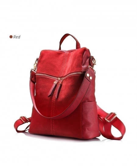 LOVEVOOK Red PU Leather Ladies Backpack