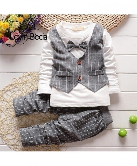 Grey Baby Boy Gentleman Long Sleeve Vest Shirt Cotton Striped Pants