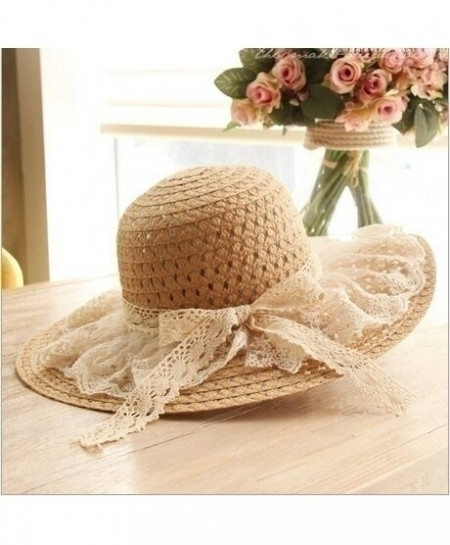 Brown Lace Sun Hats Wide Brim Beach Side Cap