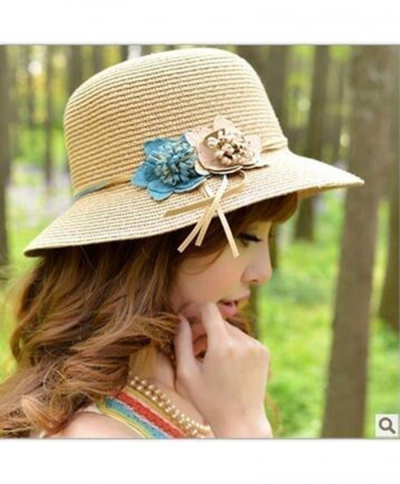 Beige Flowers Straw Panama Hat