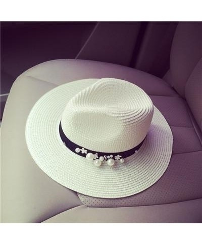COKK Flower Beads Wide Brimmed Jazz Panama Hat