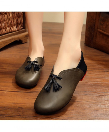 Choco Brown Handmade Leather Flat Slip On Shoes