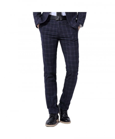 YFFUSHI Black Plaid Design Suit Pant