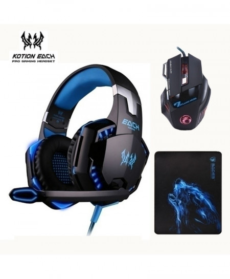 3 Pcs Combo Kotion G2000 Gaming Headset Mouse And Mousepad