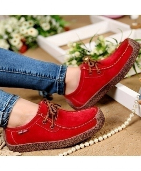 Buy Red Breathable Wild Lace Up Women Ladies Shoes Online In
