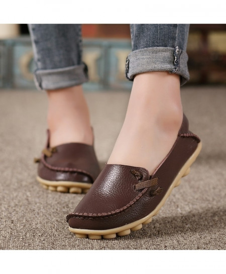 Choco Brown Peas Non-Slip Leather Flat Shoes