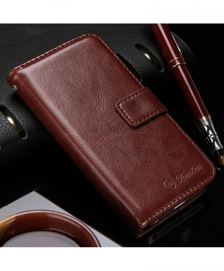 TOMKAS Brown Wallet iPhone Leather Pouch Case