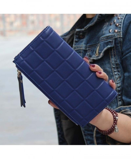 Blue Stereoscopic Square Embossed Ladies Wallet