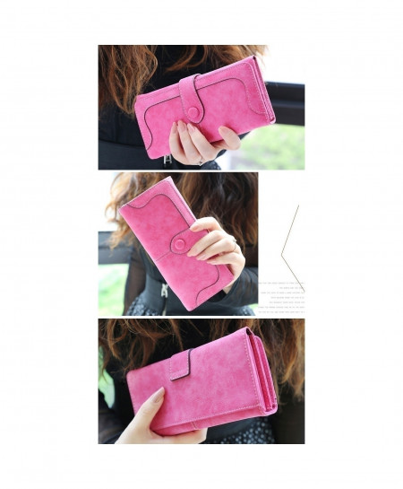 Pink Retro Matte Stitching Leather Wallet