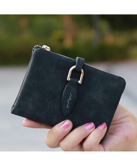 Prettyzys Black Lady Snap Fastener Short Clutch Wallet