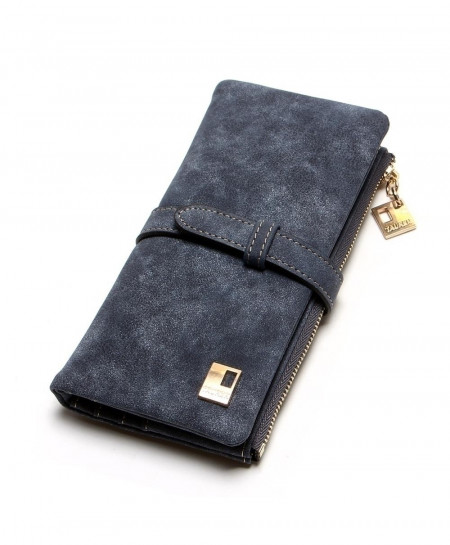 Gray Drawstring Leather Zipper Wallet