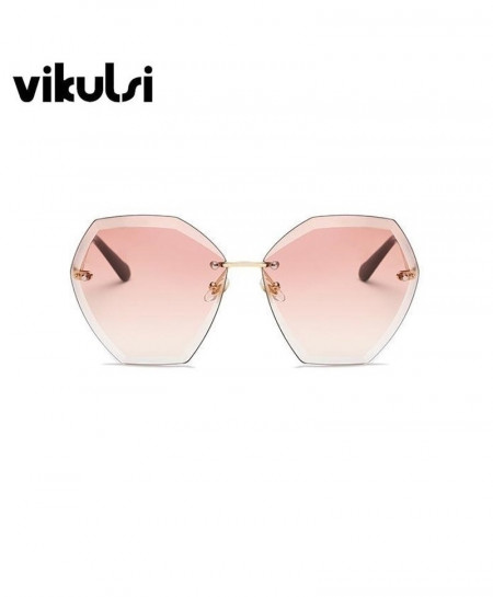 Pink Rimless Gradient Sun Glasses