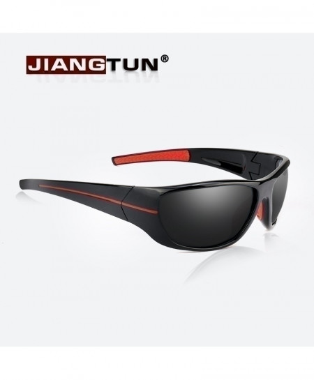 JIANGTUN Black Red Designer Polarized Sunglasses