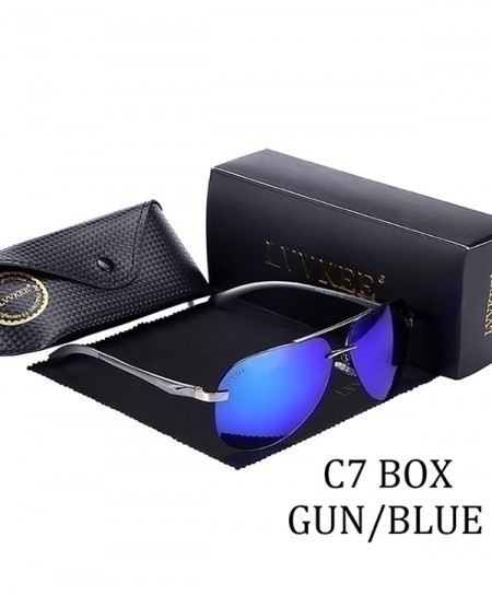LVVKEE Black Blue Designer Polarized Sunglasses
