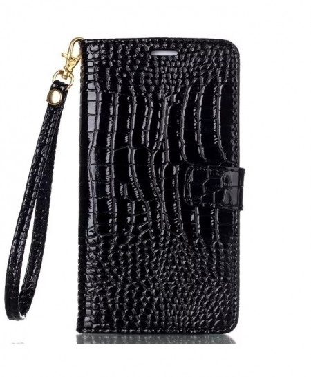 Black Crocodile Design Leather Pouch