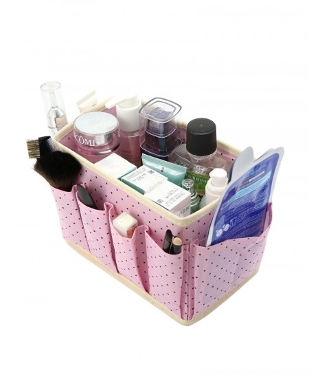 Cute Dots Desktop Cosmetic Organizer Makeup Storage Box