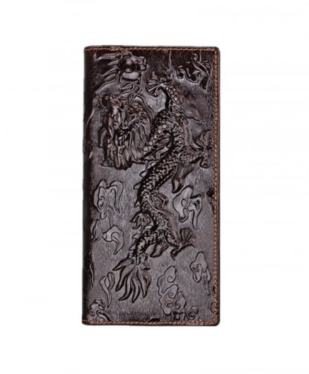 Choco Brown Chinese Dragon Pattern Leather Wallet