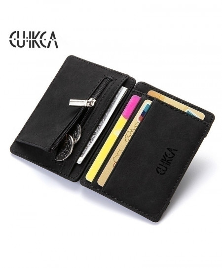 CUIKCA Black Money Clip Zipper Coins Leather Wallet