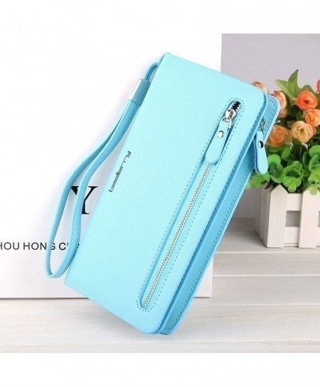 Baellerry Sky Blue Zipper Long Ladies Wallet