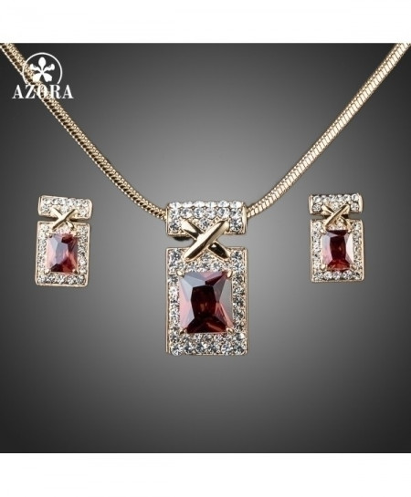 AZORA Gold Dark Red Cubic Zirconia Earrings and Necklace Jewelry Sets