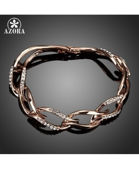 AZORA Rose Gold Stellux Austrian Crystal 8 Leaves Bracelet