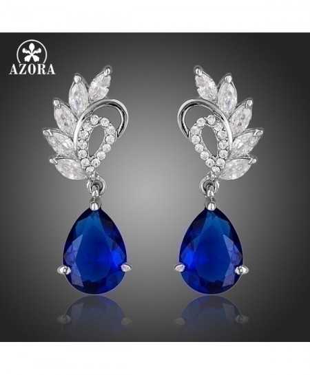 AZORA Elegant Dark Blue Cubic Zirconia Earrings