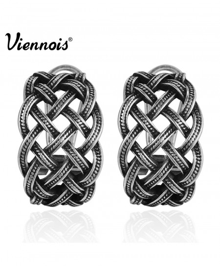 Viennois Vintage Silver Color Twisted Stud Earrings