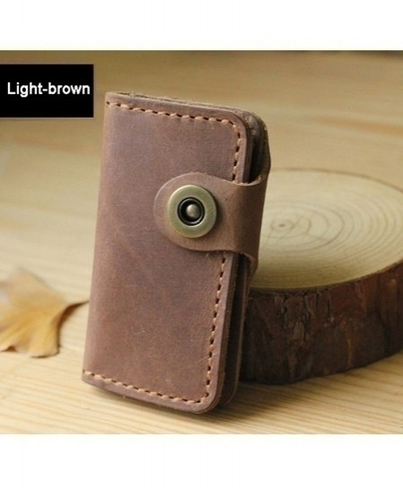 Light Brown Handmade Leather Key Holder Leather Key Wallet