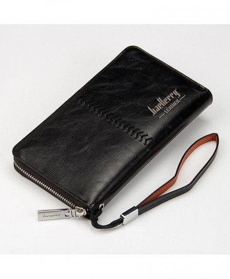 Baellerry Black Leather Long Card Holder Wallet