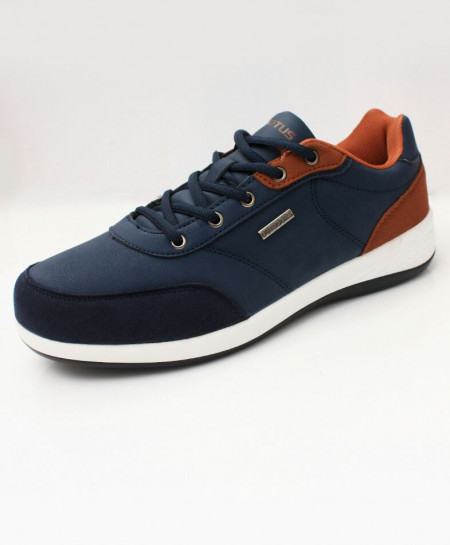 Navy Brown Lace Up Stylish Sneaker Shoes DR-220