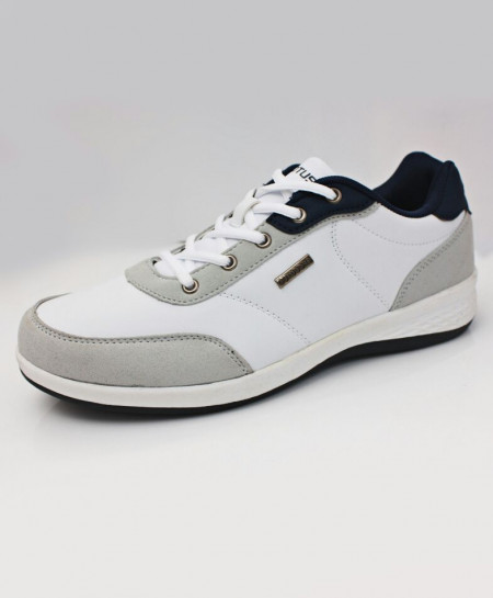 Grey White Lace Up Stylish Sneaker Shoes DR-221