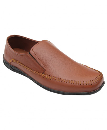 Mustard Brown Leather Stitched Style Shoes IS-030