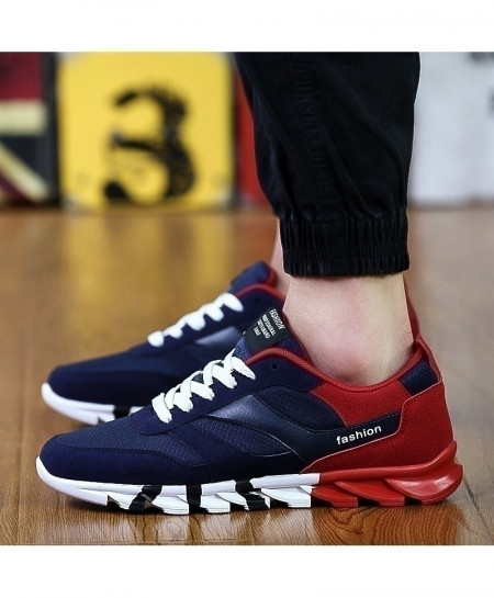Navy Red Lace Up Drift Sports Shoes