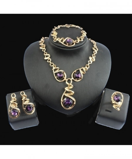 Jiayijiaduo Golden Purple Beads Jewelry Set