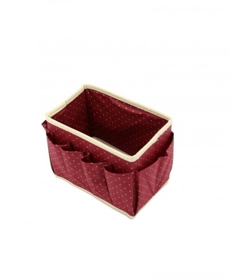 DINIWELL Maroon Dot Pattern Non-Woven Foldable Makeup Storage Box With 8 Pockets