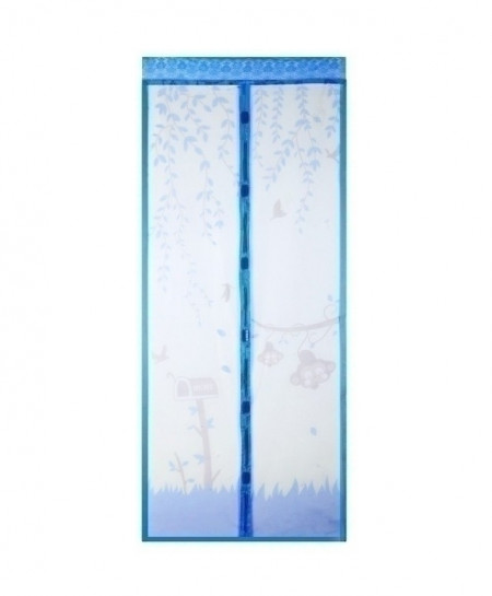 Blue Anti Mosquito Magnetic Tulle Shower Curtain Screen