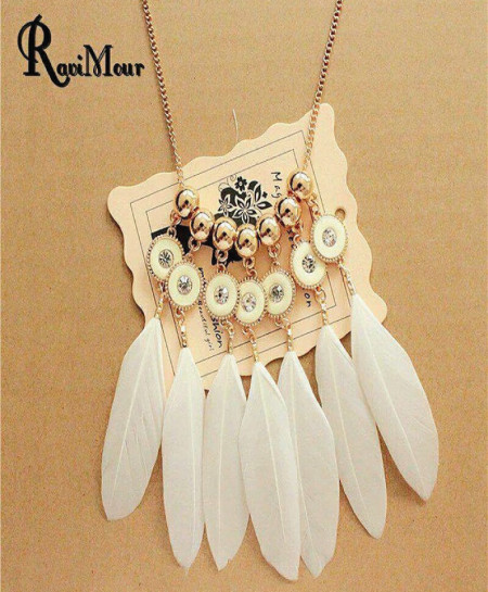 White Feather Necklace AM-358