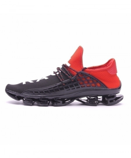 Joomra Black Red Breathable Mesh Letter Lace-up Running Sport Shoes