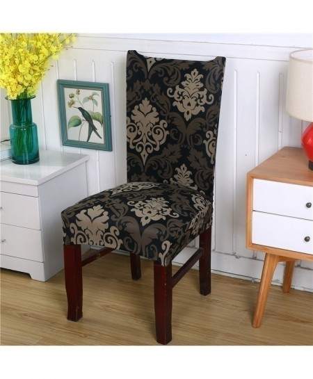 Black Flower Printing Removable Stretch Slipcovers Chair Cover