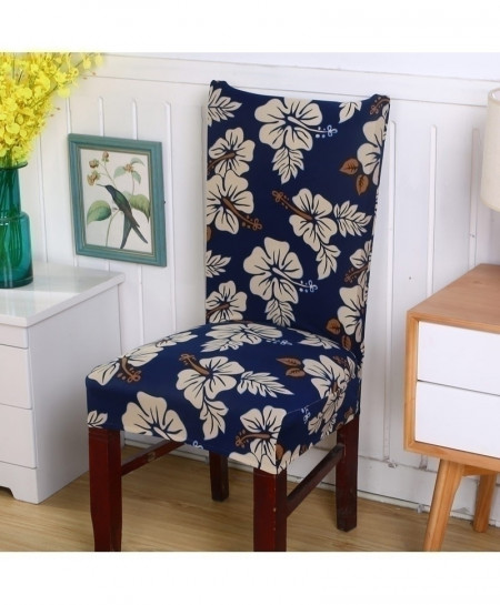 Navy Floral Printing Removable Stretch Slipcovers Chair Cover AT-3