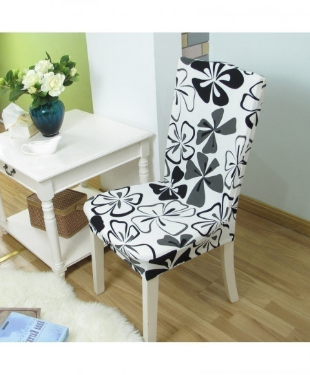 White Floral Printing Removable Stretch Slipcovers Chair Cover AT-17