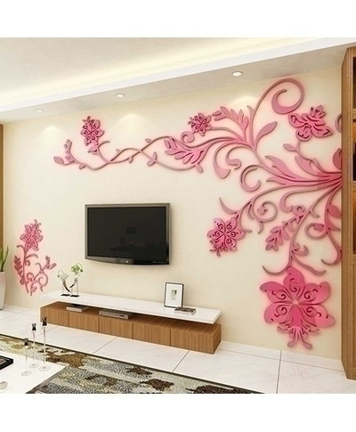 1400x1100cm Pink Flowers Acrylic Wall Sticker