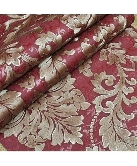 Embossed Golden Red Metallic Damask Vinyl Wallpaper