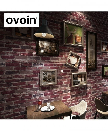 Red Brick Roll Vinyl Old Stone Style 3D Wallpaper