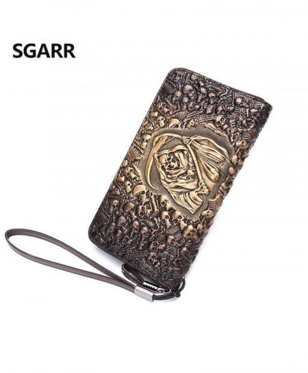 Skull Leather Designer Long Wallet
