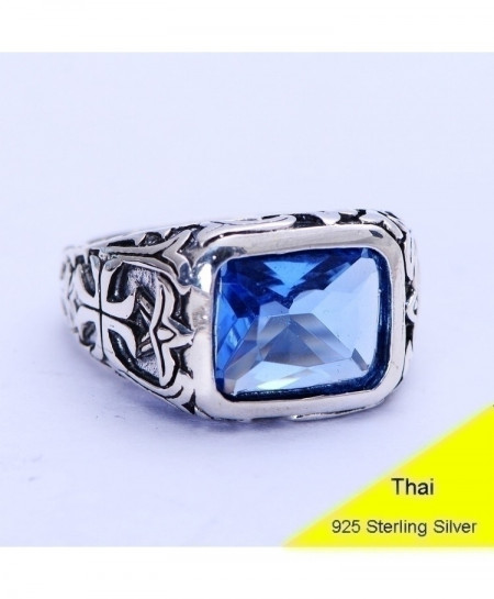 Thai 925 Sterling Silver Retro Square Ring