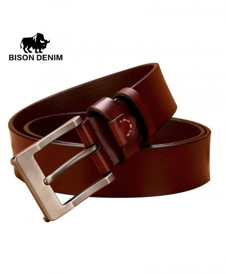 BISON DENIM Brown Cowboy Leather Smooth Belt