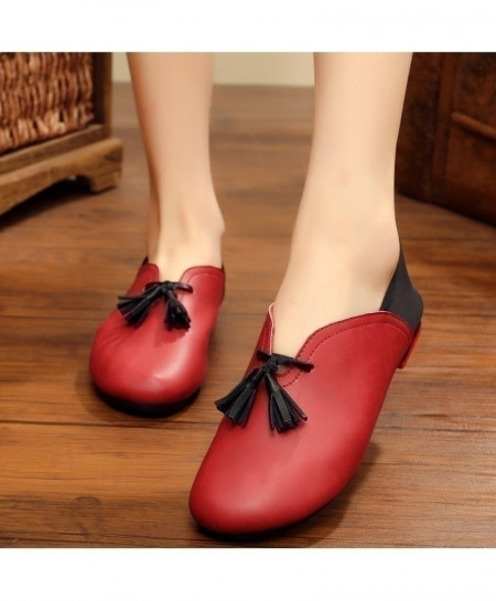 Red Handmade Leather Flat Slip On Shoes