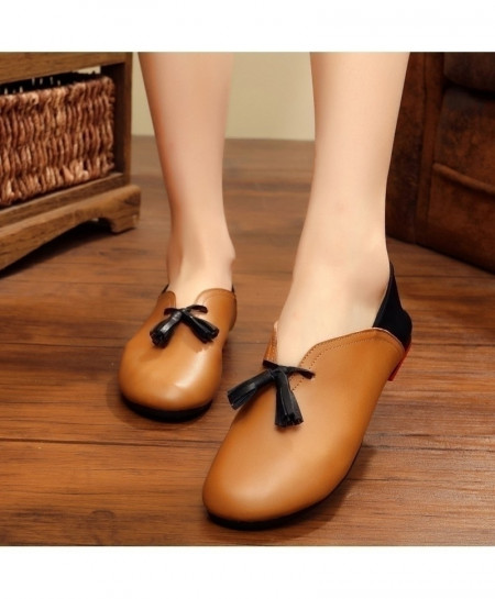 Brown Handmade Leather Flat Slip On Shoes