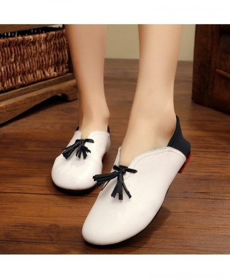 White Handmade Leather Flat Slip On Shoes